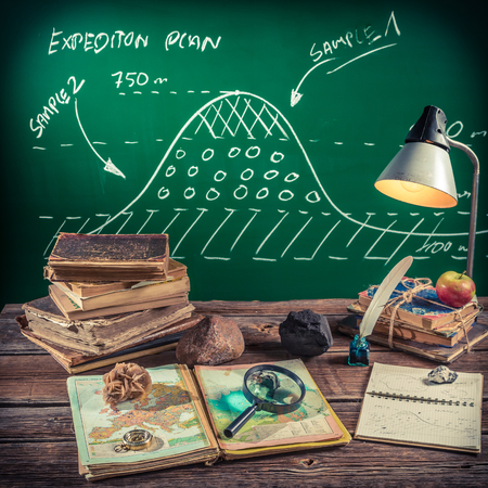 science lesson: Geography lesson at vintage school Stock Photo