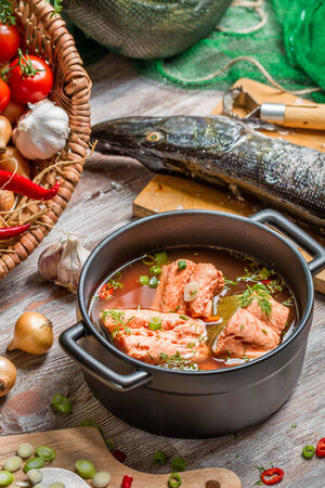 eating fish: Fresh ingredients for fish soup Stock Photo