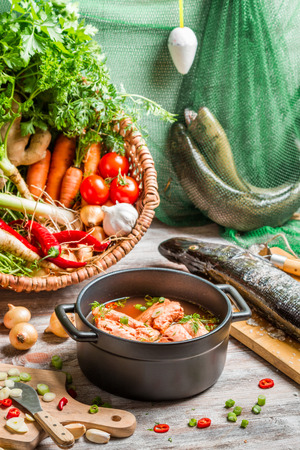 Fresh ingredients for fish soup photo