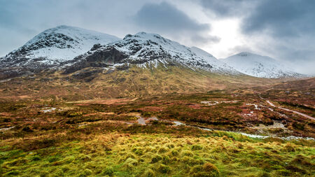 typically scottish: Footpath between snowy mountains