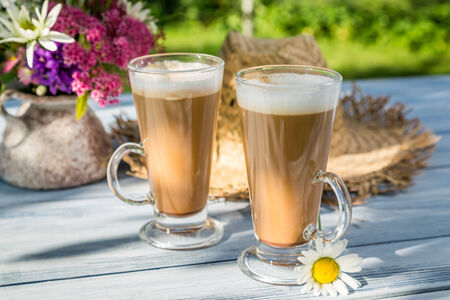 tomando refresco: Caf� en el jard�n soleado de verano