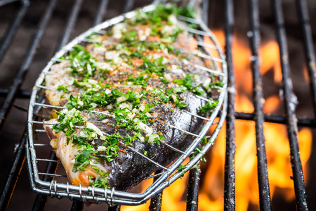 coal fish: Grilled fish with spices on fire