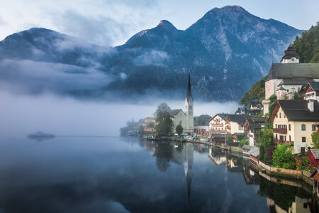 Foggy Hallstatt in autumn photo