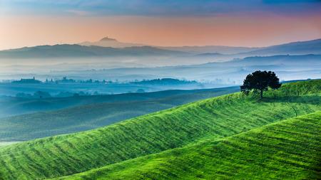 Sunrise of dreamland in Tuscany photo