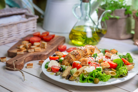 lite food: Closeup of healthy salad with vegetables Stock Photo