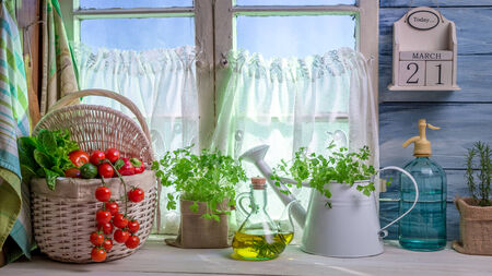 Full kitchen with fresh spring vegetables photo