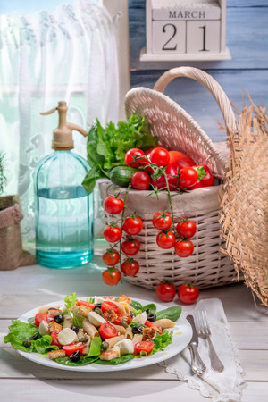 emaciated: Sunny spring salad in the kitchen Stock Photo
