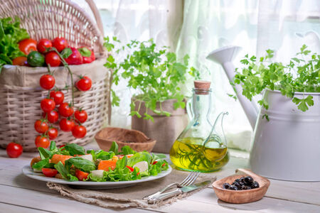 Enjoy your spring salad with salmon photo
