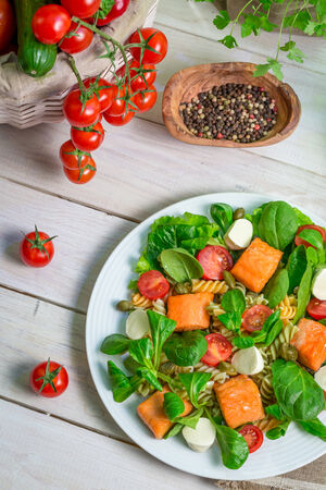 lite food: Salad with salmon and vegetables Stock Photo