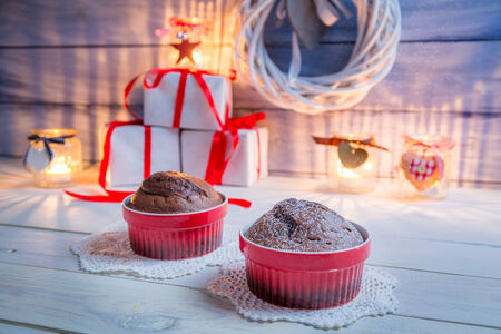 Two brown muffins for Christmas photo