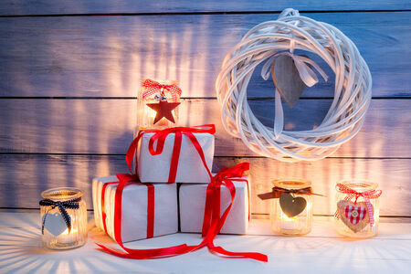 Christmas decoration with candles photo