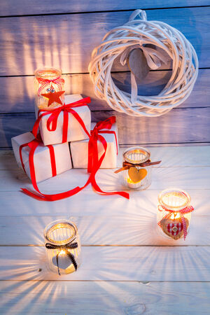 Candles and gifts for Christmas photo