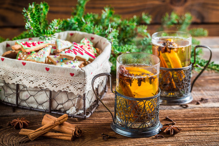 Warming tea with cinnamon and cloves photo