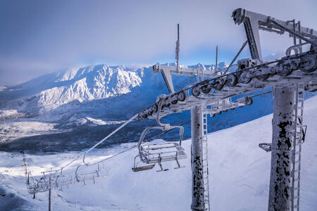 View of the ski lift from Kasprowy Wierch photo