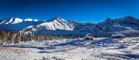 Mountain panorama in the high mountains in winter