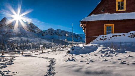 giewont: Weather station in the mountains in winter