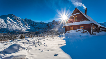 Warm accommodation in cold winter mountains