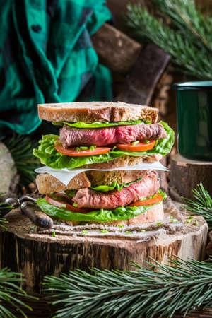 고기의: Meaty homemade sandwich with vegetables