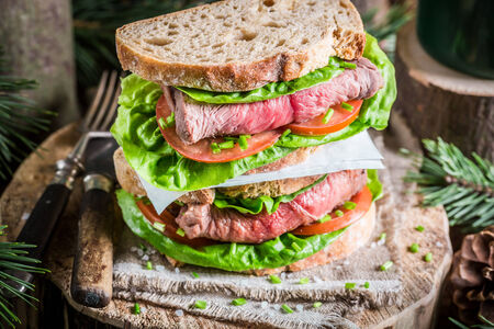 Healthy homemade sandwich with beef and vegetables photo