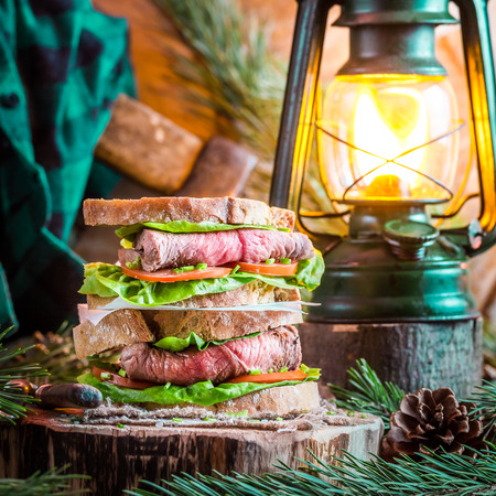 Woodcutter sandwich with beef photo