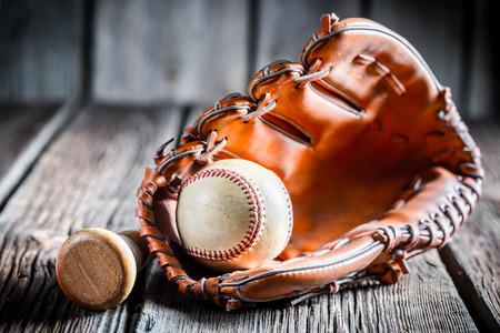 worn: Worn Baseball ball and glove
