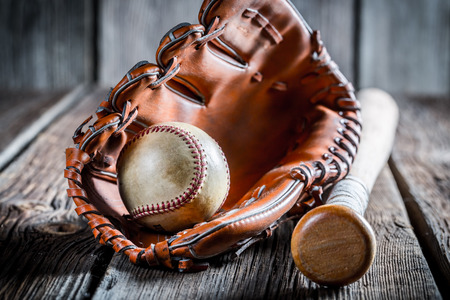 white glove: Aged set to play baseball Stock Photo