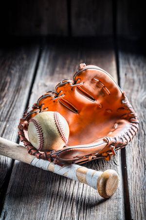 Vintage baseball glove and ball photo