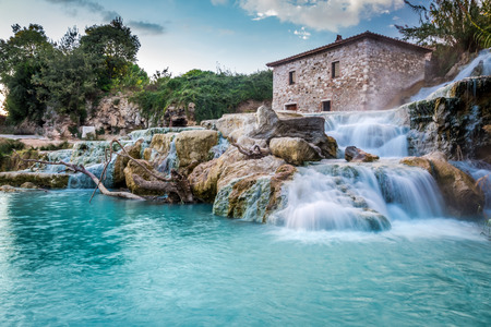 Natural spa with waterfalls in Tuscany, Italy Stock Photo