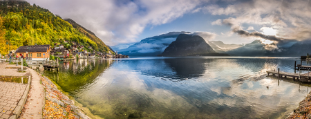 Big panorama of mountain lake in Alps photo