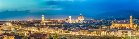 Big panorama of Florence at night in Italy photo