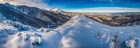 Big panorama of cold dawn in Tatra Mountains photo