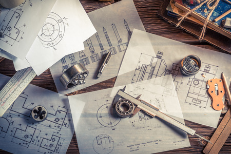 students: Designing mechanical parts by engineer Stock Photo
