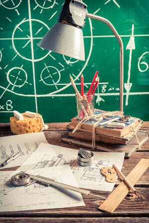 mechanical engineer: Vintage mechanical engineer desk at the university