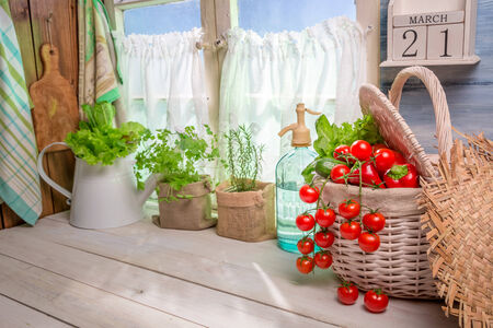 lite food: Spring kitchen full of vegetables and herbs