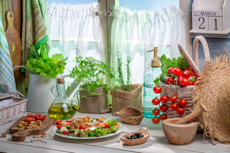 lite food: Spring salad in country house