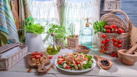 lite food: Ingredients for homemade Caesar salad