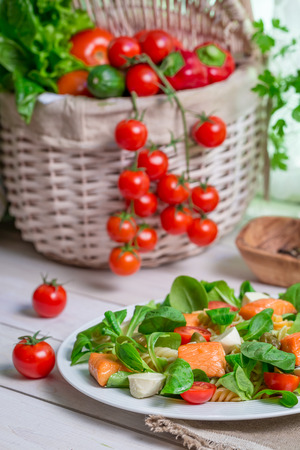 lite food: Healthy salad with salmon