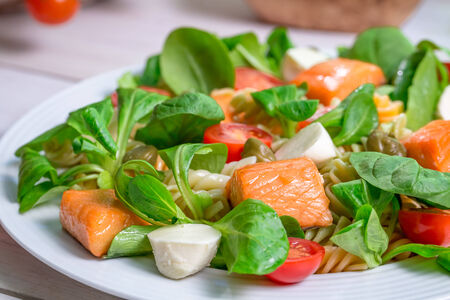 preservatives: Closeup of salmon with vegetables and lettuce