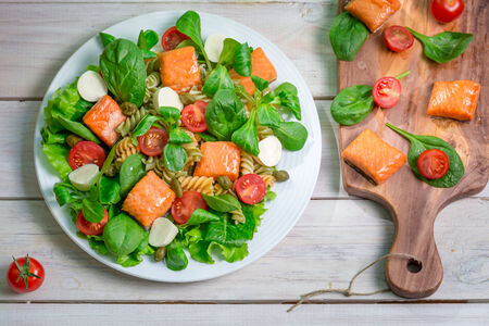 lite food: Salad with salmon and fresh vegetables
