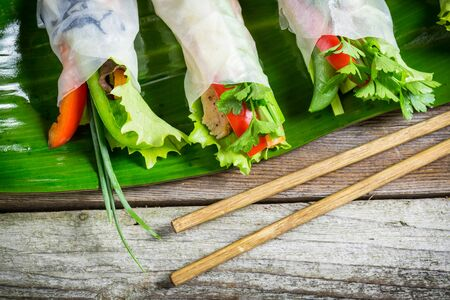 rice paper: Fresh spring rolls wrapped in rice paper Stock Photo