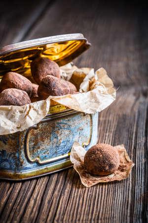 chocolate balls: Chocolate balls in blue box