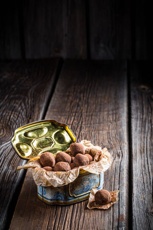 chocolate balls: Chocolate balls sprinkled with cocoa Stock Photo