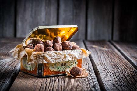 chocolate balls: Chocolate balls in vintage box