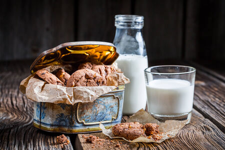 Milk and sweet hazelnut cookies photo
