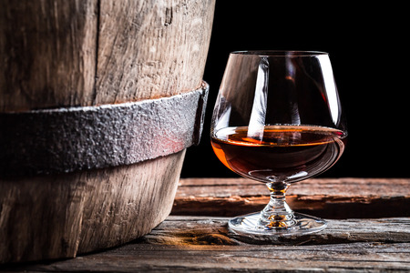 Brendy glass and old oak barrel Фото со стока