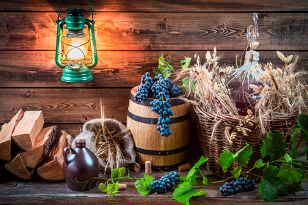 demijohn: Grapes and red wine in a demijohn