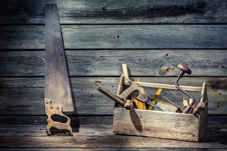 Wooden carpenters tool box photo