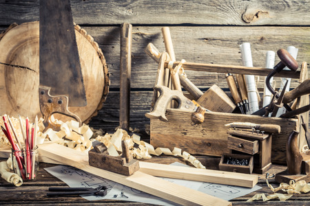 Antique carpentry workshop Reklamní fotografie - 37062945