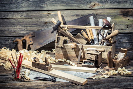 Vintage carpenter working tools