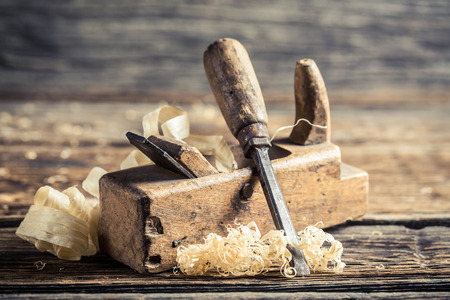 chisel: Chisel and planer in a carpentry workshop